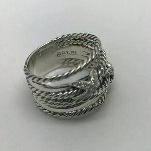 David Yurman Double X Crossover Ring Diamonds S:7